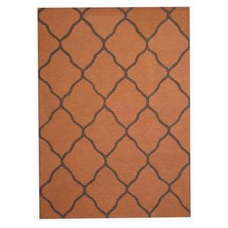 Herat Oriental Indo Hand-tufted Contemporary Rust/ Gray Wool Rug (5' x 7')