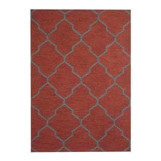Herat Oriental Indo Hand-tufted Contemporary Rust/ Teal Wool Rug (5' x 7')