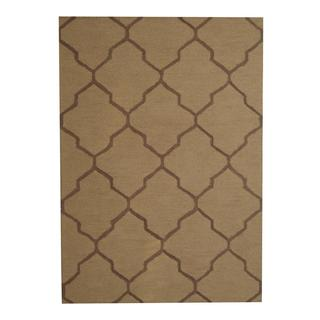 Herat Oriental Indo Hand-tufted Contemporary Light Gold/ Tan Wool Rug (5' x 7')