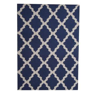 Herat Oriental Indo Hand-tufted Contemporary Blue/ Ivory Wool Rug (5' x 7')