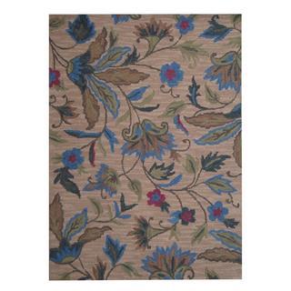 Herat Oriental Indo Hand-tufted Kashan Beige/ Blue Wool Rug (5' x 7')