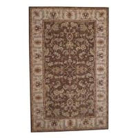 Handmade Herat Oriental Indo Kashan Wool Rug (India) - 5' x 8'
