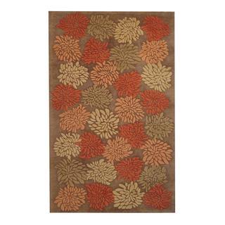 Herat Oriental Indo Hand-tufted Contemporary Design Brown/ Rust Wool Rug (5'x 8')