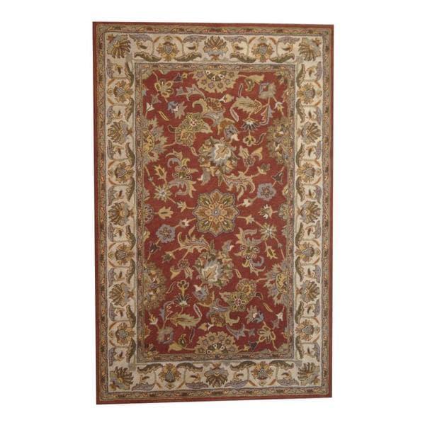 Handmade Herat Oriental Indo Kashan Wool Rug - 5' x 8' (India)