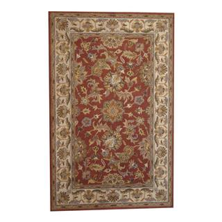 Herat Oriental Indo Hand-tufted Kashan Red/ Ivory Wool Rug (5' x 8')