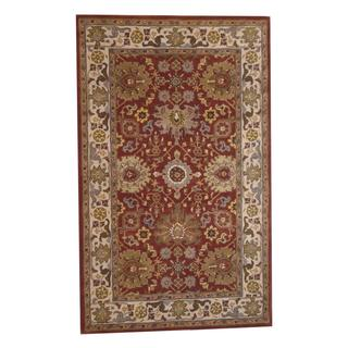 Herat Oriental Indo Hand-tufted Mahal Red/ Ivory Wool Rug (5' x 8')