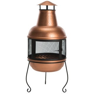 "Safavieh Lima Copper/ Black Chiminea - 18"" x 18"" x 40"""