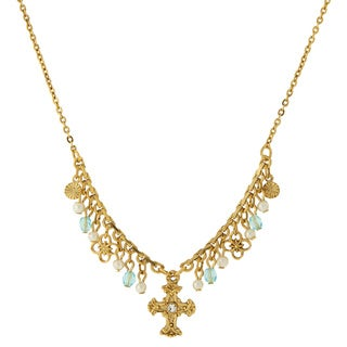 The Vatican Library Collection Goldtone Blue and White Bead Cross Necklace