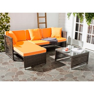 Safavieh Likoma Brown Rattan Orange Cushion/ Pillow White Piping Wicker 3-piece Outdoor Set