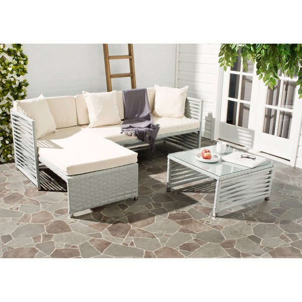 Safavieh Likoma Grey Rattan Beige Cushion/ Pillow White Piping Wicker  3 Piece Outdoor Set