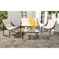 Safavieh Berkane Brown Rattan and Beige Fabric 4-piece Outdoor Set