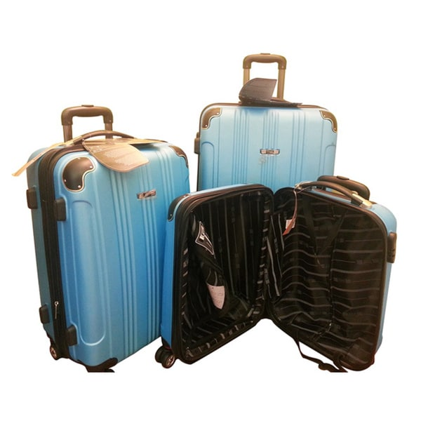 375cba18c Shop Travel Concepts Blue 3-piece Hardside Spinner Luggage Set ...