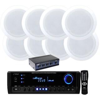 Pyle KTHSP590S 4-channel 300-watt Receiver/ Amplifier with Speaker Selector and 4 Pair 150W 5.25-inch in-ceiling Speakers
