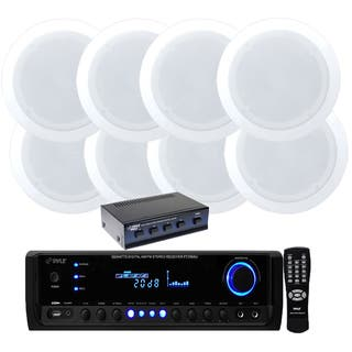 Pyle KTHSP590S 4-channel 300-watt Receiver/ Amplifier with Speaker Selector and 4 Pair 150W 5.25-inch in-ceiling Speakers|https://ak1.ostkcdn.com/images/products/9981518/P17133213.jpg?impolicy=medium