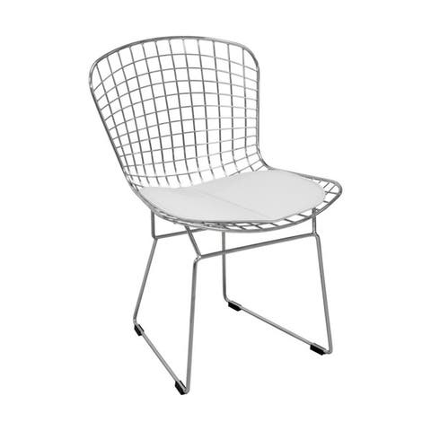 Mid Century Chrome Wire Dining Chair with Faux Leather Seat Pads