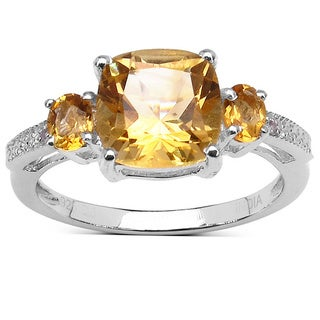 Malaika 2.43 Carat Genuine Citrine and White Topaz .925 Sterling Silver Ring
