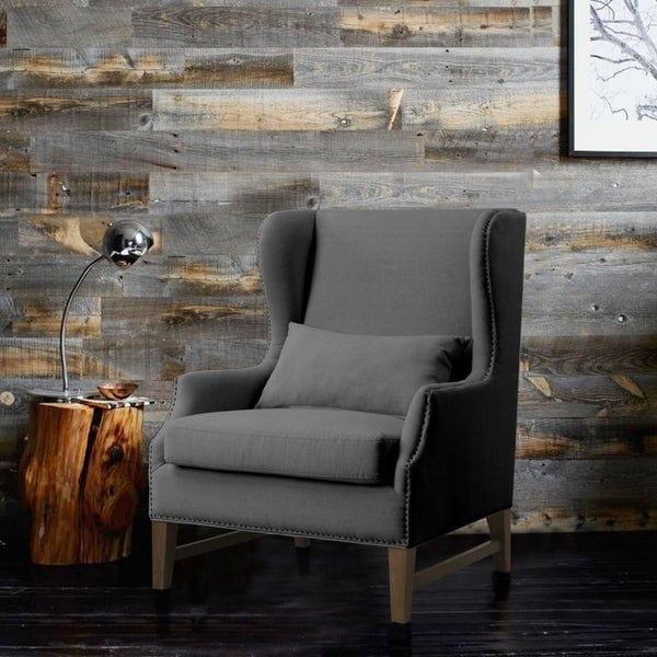 Shop Devon Grey Linen Wing Chair Free Shipping Today