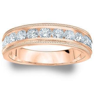 Amore Rose Gold 1ct TDW Milgrain Machine-Set Diamond Wedding Band (G-H, SI1-SI2)