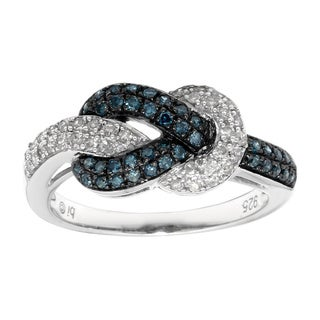 Sterling Silver 1/2ct TDW Blue/Black and White Diamond Ring
