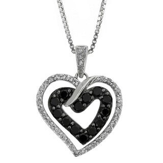 Sterling Silver 3/5ct TDW Black and White Diamond Heart Shaped Pendant