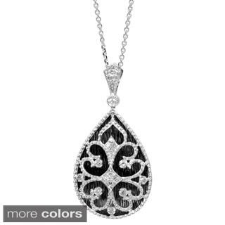 Sterling Silver 1/8ct TDW Diamond Teardrop Pendant