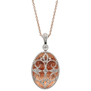 Sterling Silver 1/5ct TDW Diamond Oval Shaped Pendant