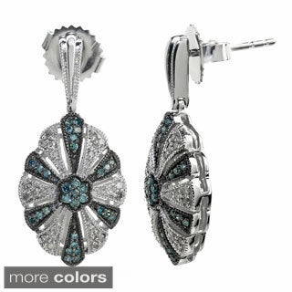 Sterling Silver 2/5ct TDW Blue and White Diamond Earrings