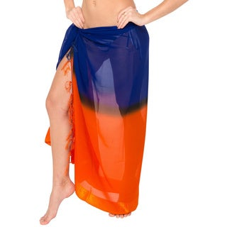 La Leela Chiffon Hawaiian Sarong Skirt Wrap Pareo Women Beach Coverup Dress Blue