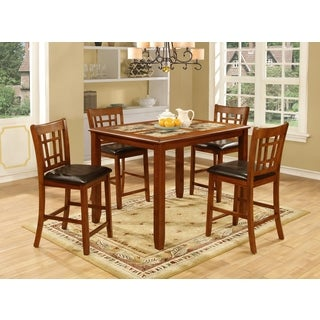 5-piece Dark Oak/ Faux Marble Inlay Table and Chairs Set