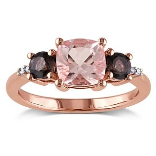 Miadora Rose-plated Silver Morganite Smoky Quartz Diamond Accent Ring