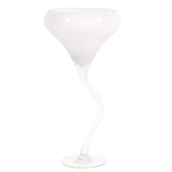 White Glass Wine Glass Vase