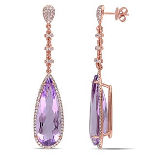 Miadora Signature Collection 14k Rose Gold Pink Amethyst 7/8ct TDW Diamond Earrings (G-H, SI1-SI2)