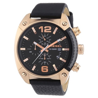 Diesel Men's DZ4297 'Overflow' Chronograph Black Leather Watch