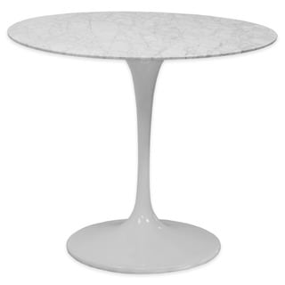 Mod Made White Lily Round Marble Dining Table with Aluminum Base
