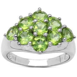 Olivia Leone Sterling Silver 2 1/5ct Green Peridot Ring