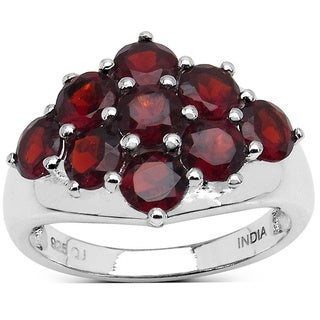 Malaika Sterling Silver 3 1/10ct Red Garnet Ring
