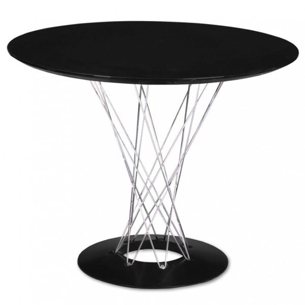 Mod Made Round Contemporary Black with Chrome Wire Base Twist Dining Table