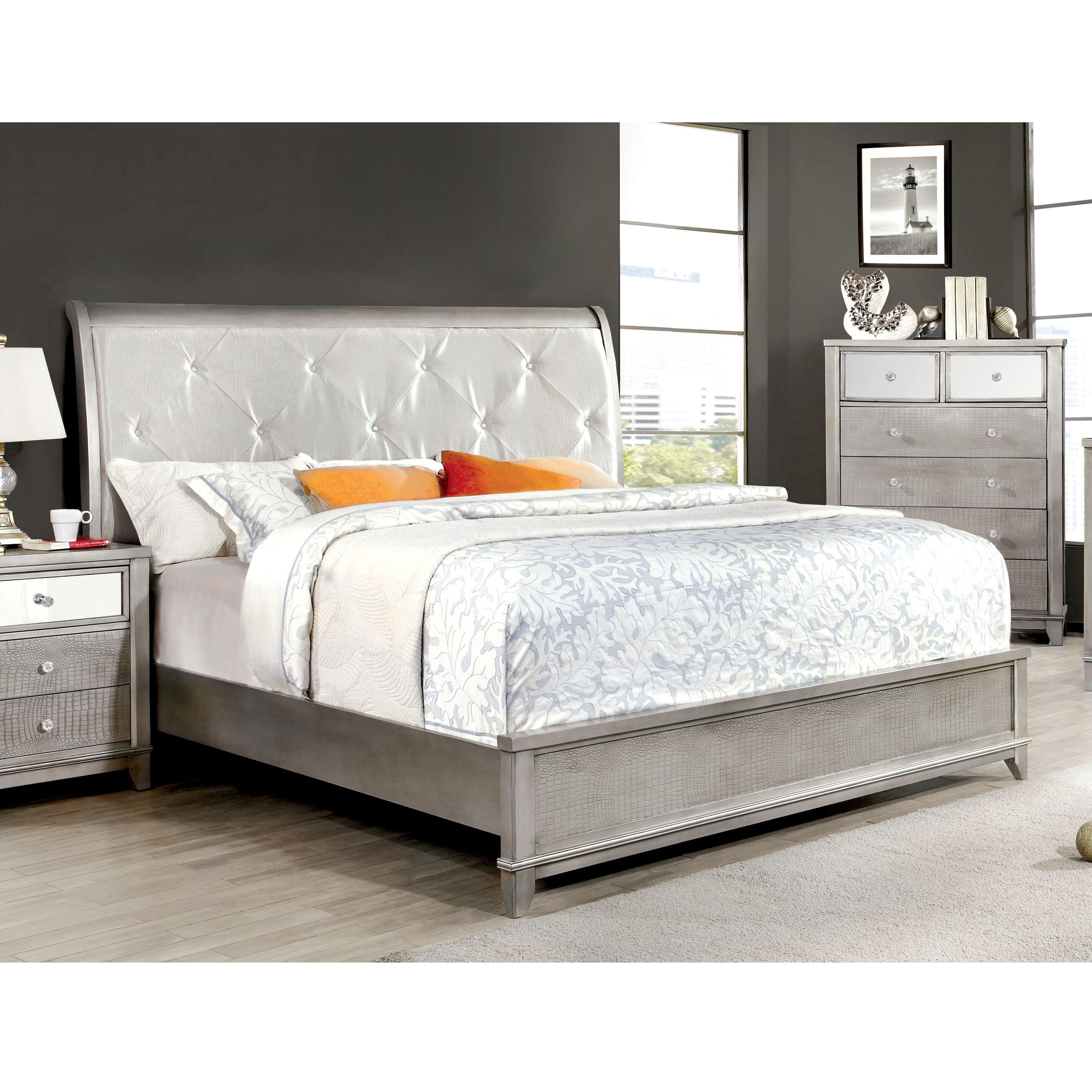 Furniture of America Divonne Modern Crocodile Silver Plat...