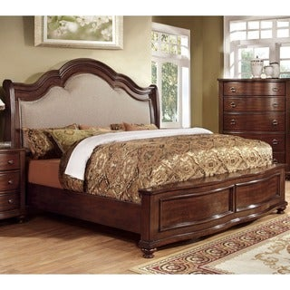 Furniture of America Tole Contemporary Cherry Solid Wood Panel Bed