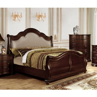 Furniture of America Ceres Traditional Brown Cherry Upholstered Headboard Bed