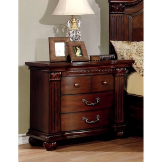 Furniture of America Vayne Traditional Cherry Solid Wood Nightstand