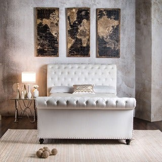 Furniture of America Victor I Button Tufted Sleigh Bed