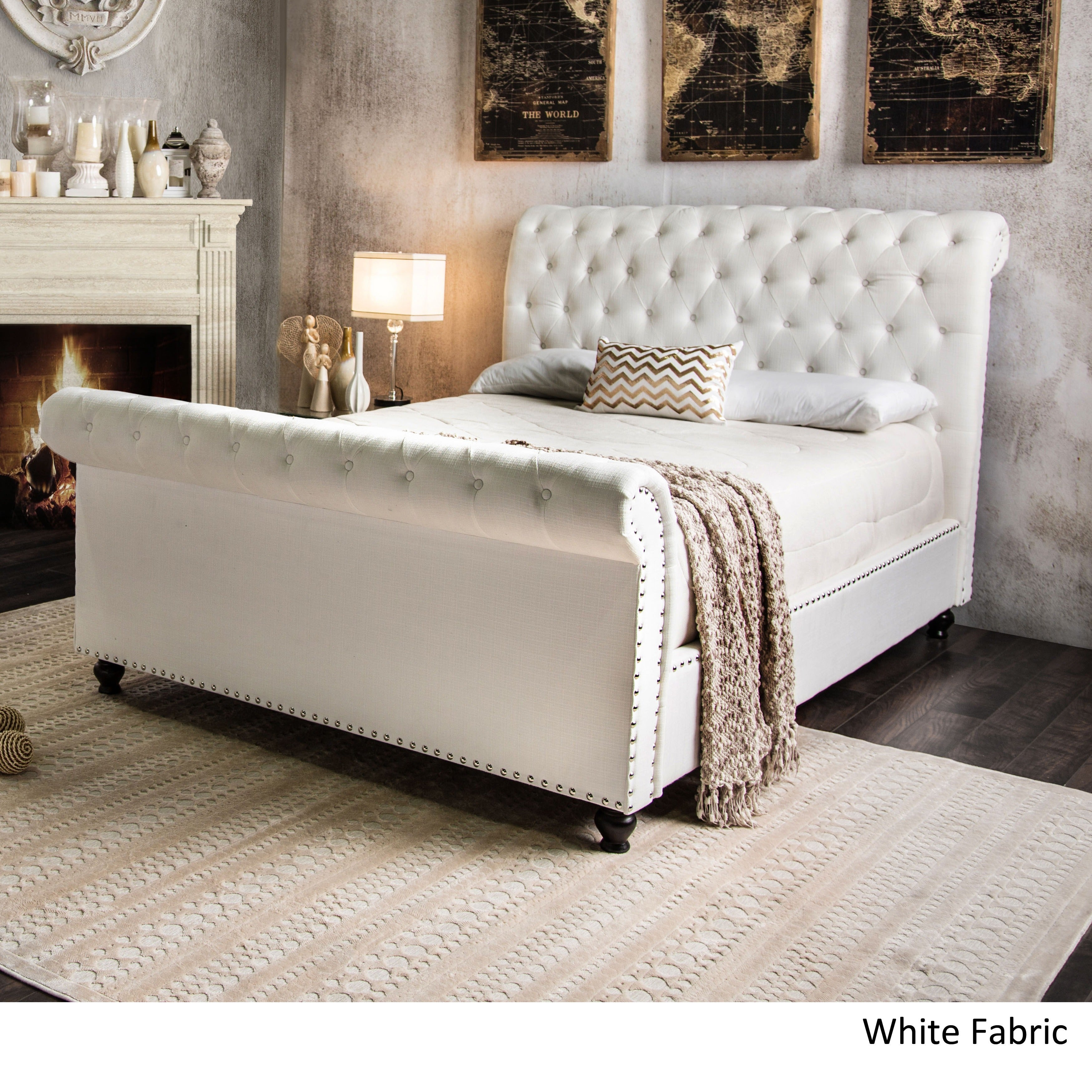 Shop Black Friday Deals On Furniture Of America Victor I Button Tufted Sleigh Bed Overstock 9983853