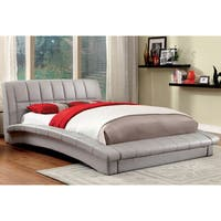 Furniture of America Corina Contemporary Curved Leatherette Platform Bed