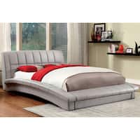 Furniture of America Corina Contemporary Curved Leather Platform Bed