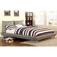 Furniture of America Gaushe Contemporary Grey Leatherette Low Profile Bed