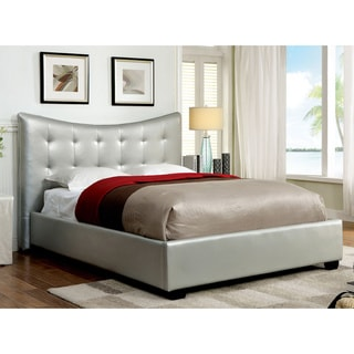 Furniture of America Umbrie Contemporary Silver Leatherette Platform Bed