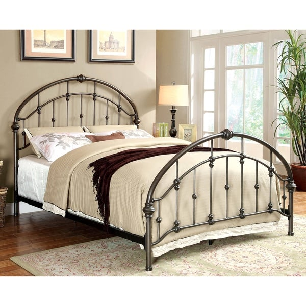 Furniture of America Remm Contemporary Bronze Metal Arch Panel Bed