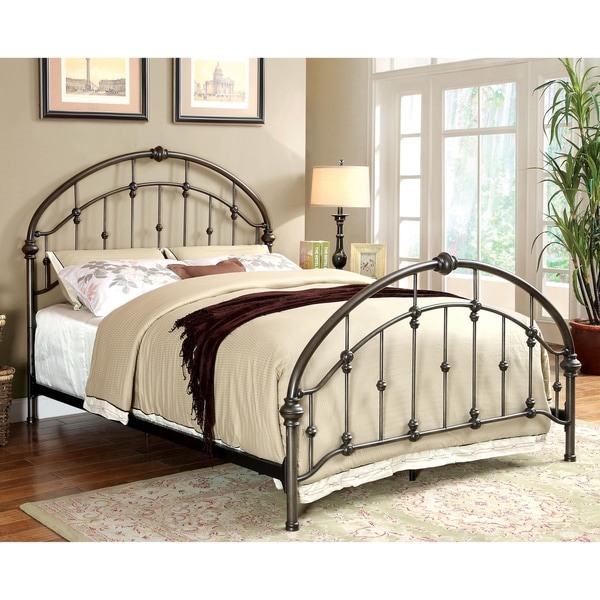 Shop Furniture of America Aurielle Brushed Bronze Metal Platform Bed ...