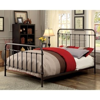 Furniture of America Norielle Rustic Metal Powder-coated Panel Bed